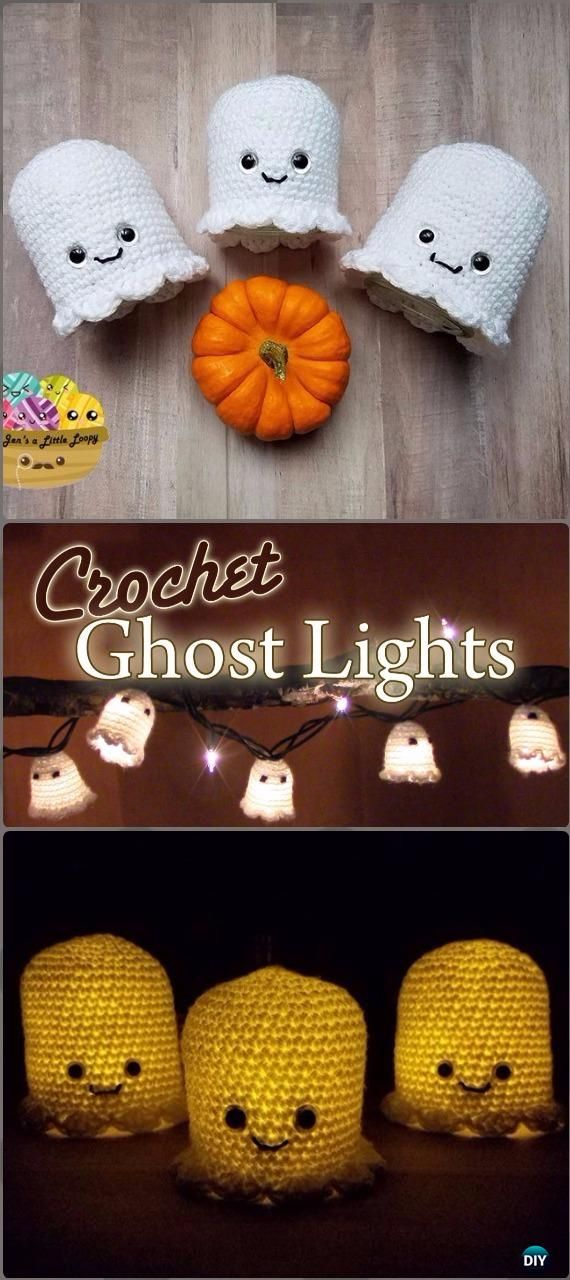 DIY Crochet Glowing Ghost Lights Tutorial - DIY Halloween Light Projects Instructions