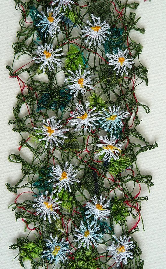 Daisies embroidered bookmark, textile art, free machine embroidery                                                                                                                                                                                 More