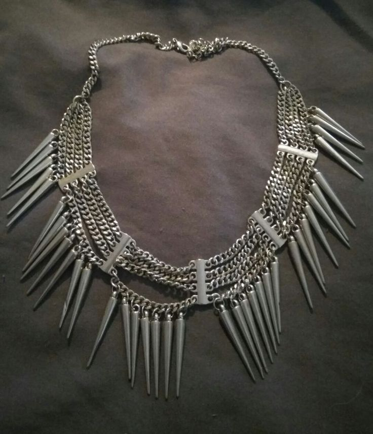 Silver metal look spike necklace by Diva in Jewellery & Watches, Fashion Jewellery, Necklaces & Pendants | eBay!