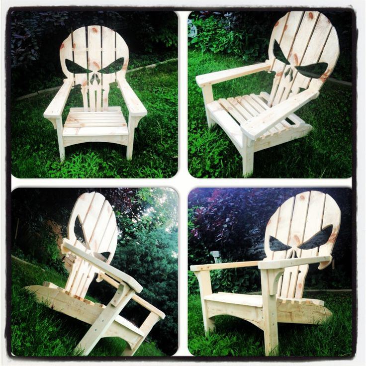 Wood Skull Lawn Chairs ~ Punisher skull adirondack muskoka chair