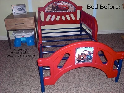 Cool toddler bed make over, start with a tacky plastic bed and get an amazingly cute custom bed after
