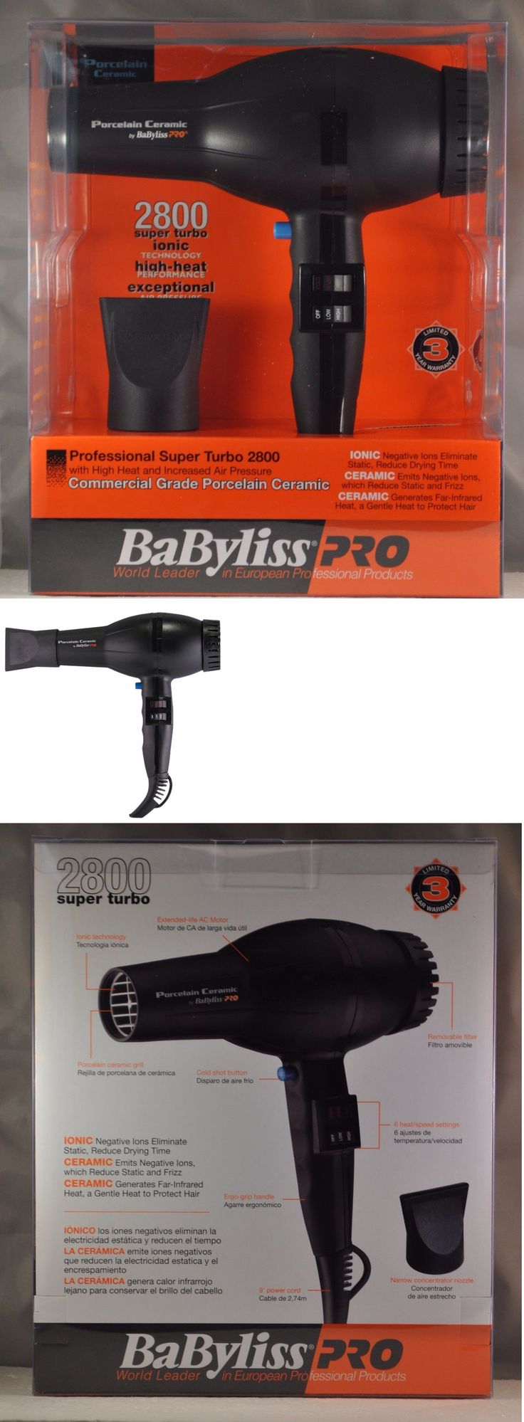 Hair Dryers: Babyliss Pro Porcelain Ceramic Ionic Super Turbo 2800 Hair Dryer Hair Blower -> BUY IT NOW ONLY: $59.95 on eBay!