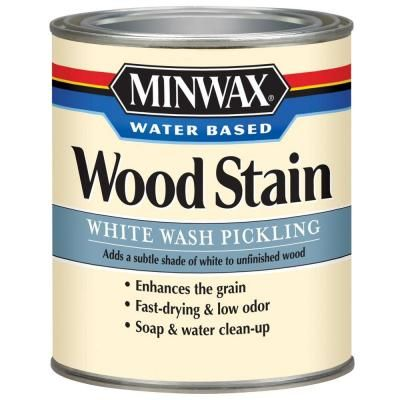 Minwax 1-qt. White Wash Pickling Water Based Stain-61860 at The Home Depot.  For a subtle white shading that allows wood's natural grain to show through, apply the Minwax 1 qt. White Wash Pickling Water-Based Stain with a cloth, brush or foam applicator to interior woodwork, cabinets, furniture, doors, moulding and trim. The stain provides a rich, even color to wood surfaces.  $11