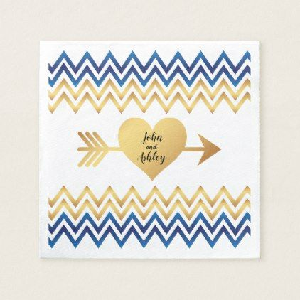 Modern Navy Blue & Gold Chevron Wedding Paper Napkin - wedding decor marriage design diy cyo party idea