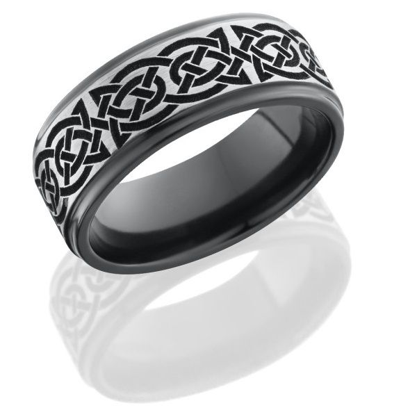 The Celtic design on Zirconium makes this band strong and distinctive.  Lashbrook Designs