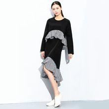 ГОРЯЧИЕ Моды Европейских повседневная дизайнер 2016 новых женщин каскадных рюшами длинные рукава о-образным вырезом тонкий женский дамы асимметричные платья(China (Mainland))