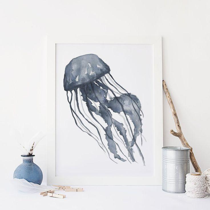 Blue Watercolor Jellyfish Wall Art Digital Print Jetty Home Jellyfish Wall Art Illustration Wall Art Map Wall Art