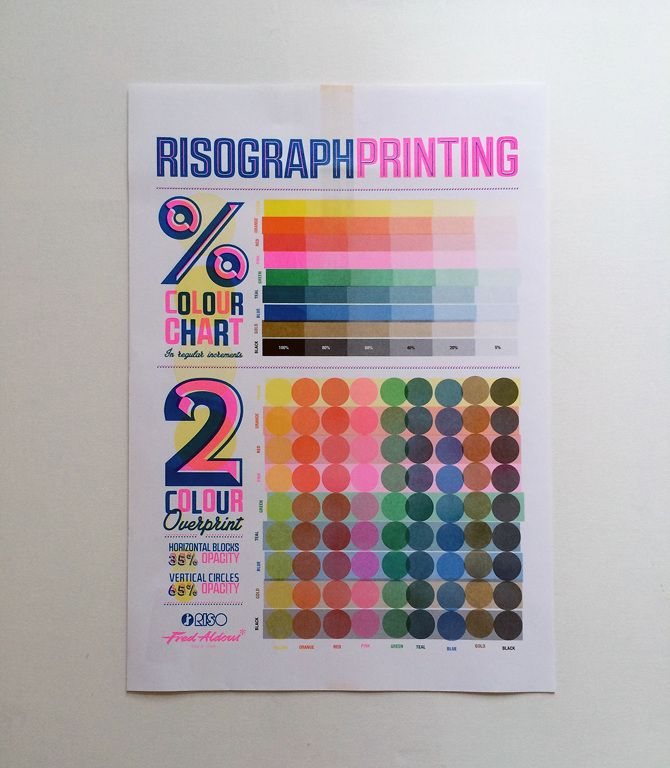 Risograph Colour Chart / Line Weight & Type Height  A3 prints showing colour transparencies and overprints as a reference for Risograph printing designed for Fred Aldous