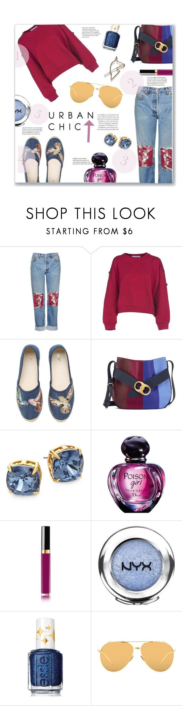 """Украшенные джинсы"" by jckallan ❤ liked on Polyvore featuring Topshop, Philosophy di Lorenzo Serafini, RED Valentino, Tory Burch, Chanel, NYX, Essie, Linda Farrow and contestentry"