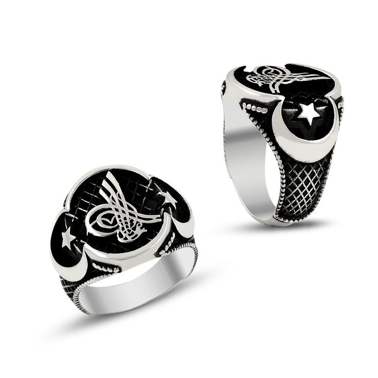 925k sterling silver mens womens ring ottoman sultan sign crescent islam jewelry #Handmade #Ottoman