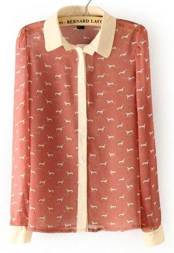 Pink Long Sleeve Dogs Print Chiffon Blouse