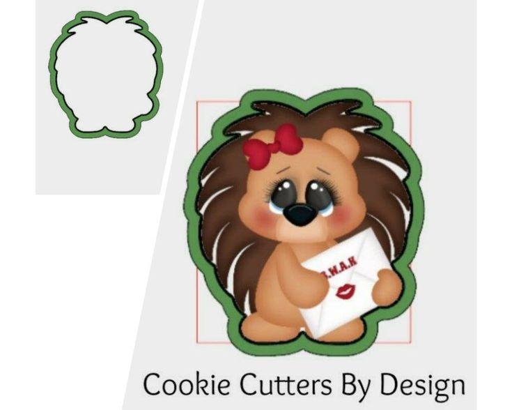 Valentine's Cookie Cutter / Hedgehog Cookie Cutter / Love Letter Cookie Cutter / 3D Printed Cookie Cutters / Cookie Cutters by CookieCuttersByDsgn on Etsy