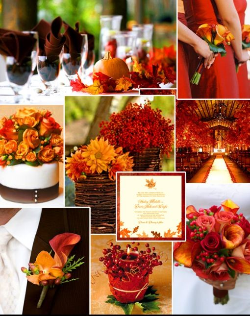 Fall Wedding colors..not flowers.  I am thinking reds, oranges, and brown will be my colors.