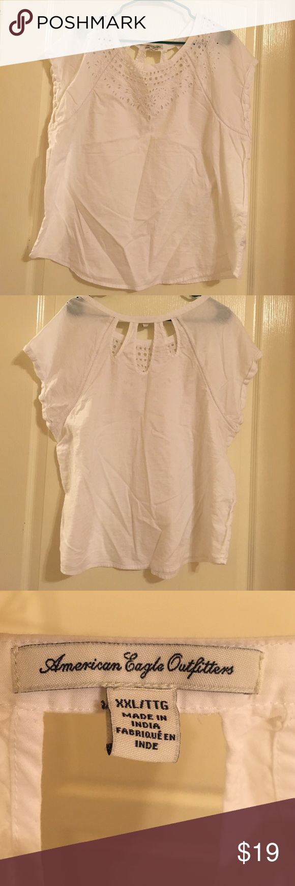 American Eagle shirt American Eagle white blouse worn once great condition American Eagle Outfitters Tops Blouses