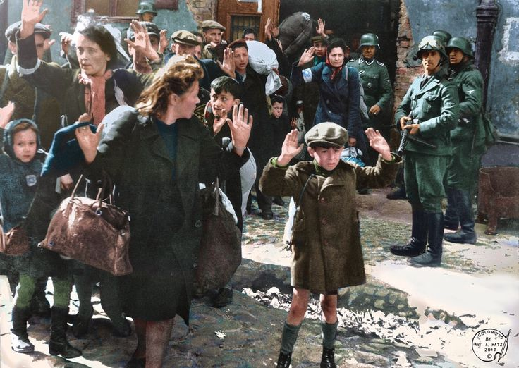 [1600x1136] Josef Blösche and other Nazi officials escort more than 254,000 Polish Jews out of the Warsaw ghetto to the Treblinka concentration camp (May 1943, colorized)