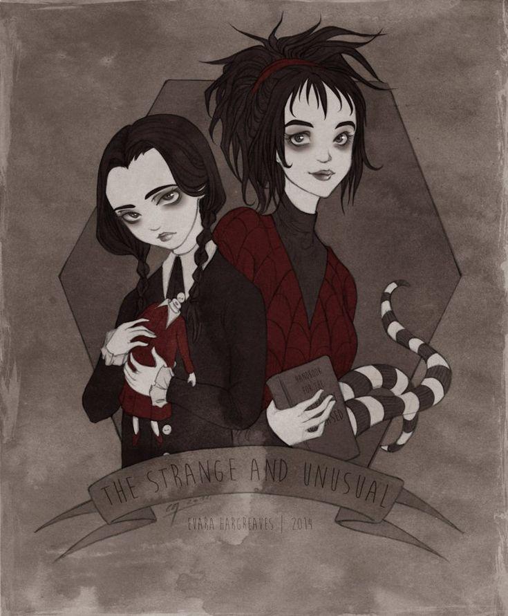 The Strange & Unusual // By: Yu-Evara // Beetlejuice // The Addams Family // Lydia Deetz // Wednesday Addams
