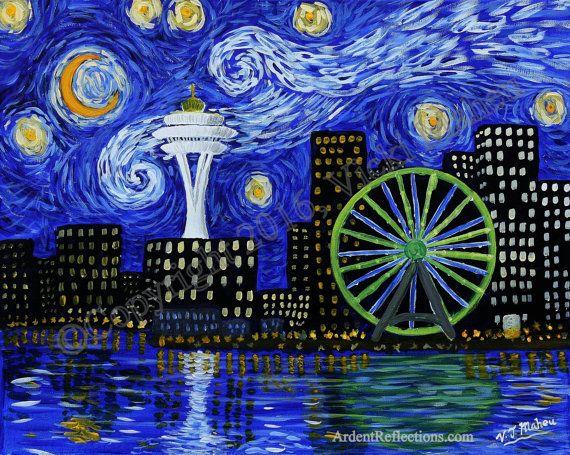 Starry Night, Vincent Van Gogh, Seattle, the Starry Night, Giclee Print, Seattle Painting, stars, night sky, Starry Night Art, Item #SNS-1P