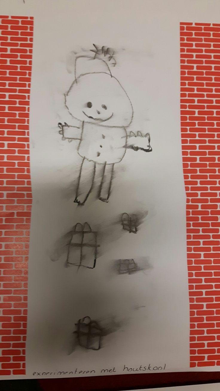 Piet in de schoorsteen.  Tekenen met houtskool