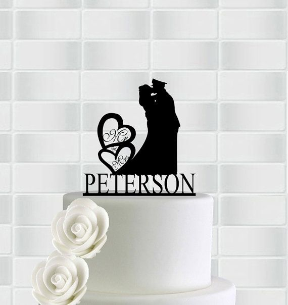 Wedding Cake Topper,Mr And Mrs Cake Topper With Heart,Military Wedding Cake Toppers Army,Custom Wedding Cake Topper,Rustic Wedding Topper ==================================================  This wedding cake topper made 3mm Acrylic. Wedding cake topper is approx 5-6 inch wide and height on top tier cake. And one or two stake will permanently attached to the bottom of cake topper.  We provide all cake toppers in color Black, Red, Orange, Green, Blue.  Please include following information in…