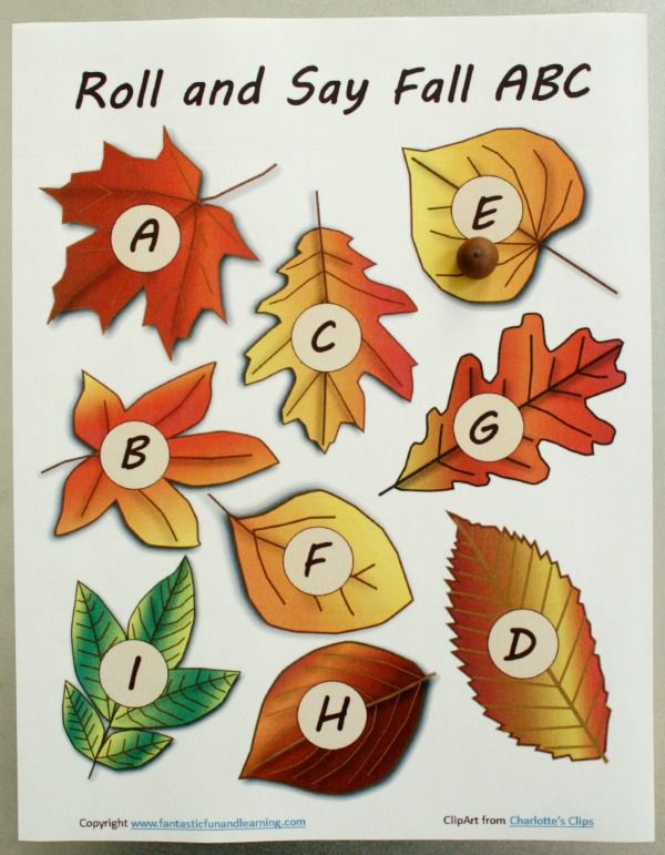 Roll and Say Fall ABC Free Printable from Fantastic Fun and Learning - repinned by @PediaStaff – Please Visit ht.ly/63sNt for all our ped therapy, school & special ed pins