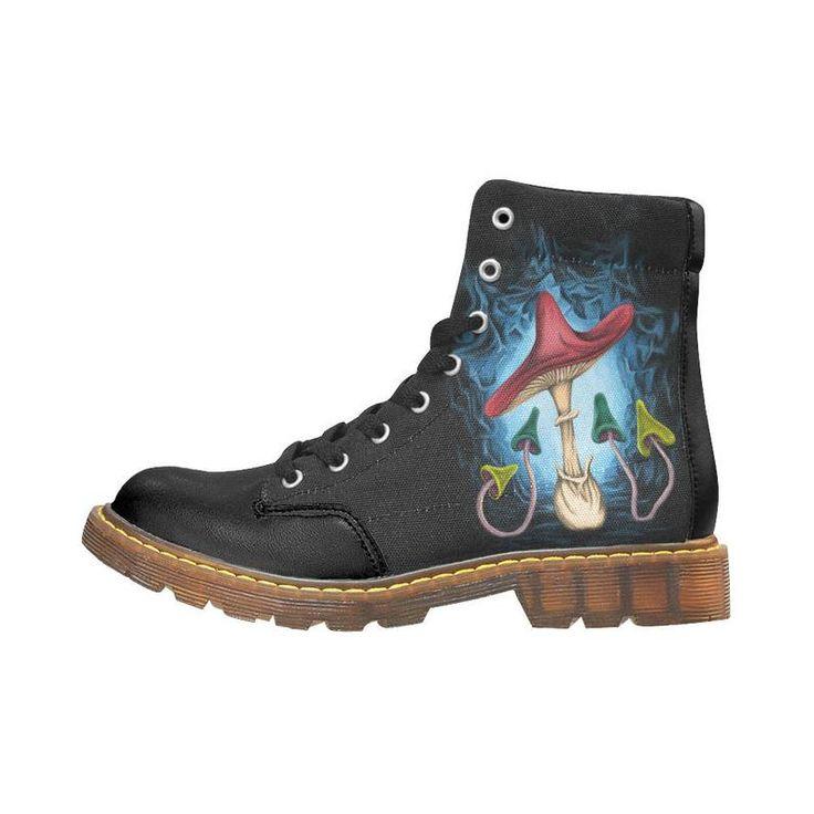 Bottes champignons – art bottes peinture digitale – Boots noires et bleues – motif champignon Boots homme ou femme LIVRAISON GRATUITE