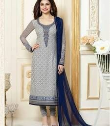Buy Light blue embroidered georgette unstitched salwar with dupatta dress-material online