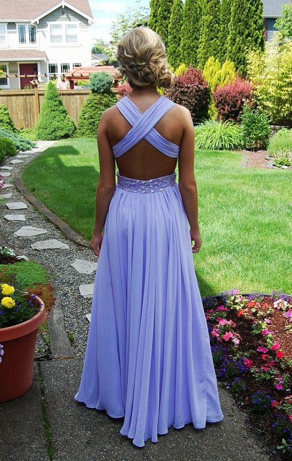 lavender backless prom dress , long chiffon  open back evening dress ,  ball gown , formal dress , pageant wedding party homecoming dress on Etsy, $165.00