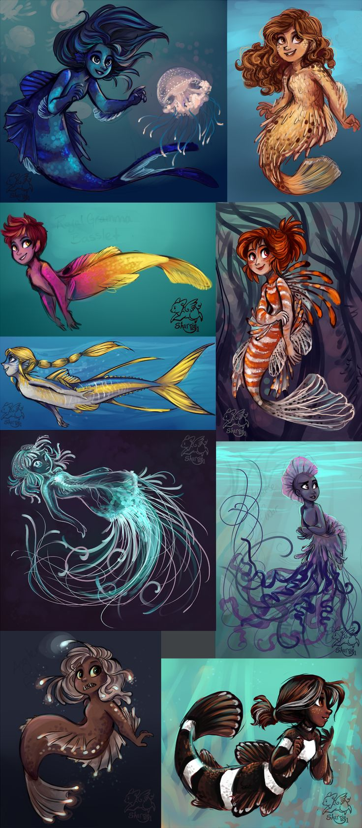 "Mermaids by sharpie91.deviantart.com on @deviantART ""A bunch of mermaids based on various marine creatures;Man of War Fish, Puffer Fish, Royal Gramma Basslet, Lion Fish, Yellowfin Tuna, Immortal Jellyfish, Portuguese Man of War (not a jellyfish), Anglerfish, Black Ocellaris Clownfish"""