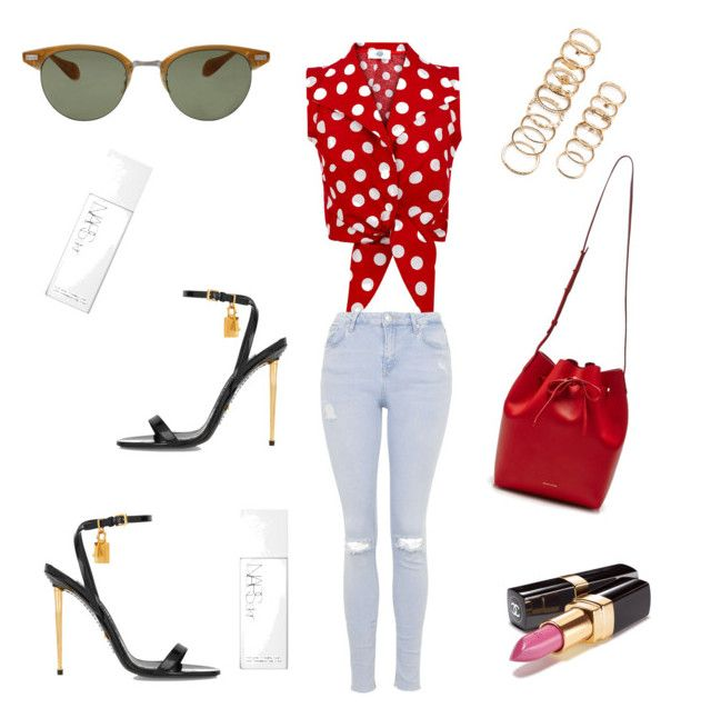 """""""Red for Monday"""" by weijin on Polyvore featuring Chanel, Topshop, Mansur Gavriel, Oliver Peoples, Tom Ford, Forever 21 and NARS Cosmetics"""