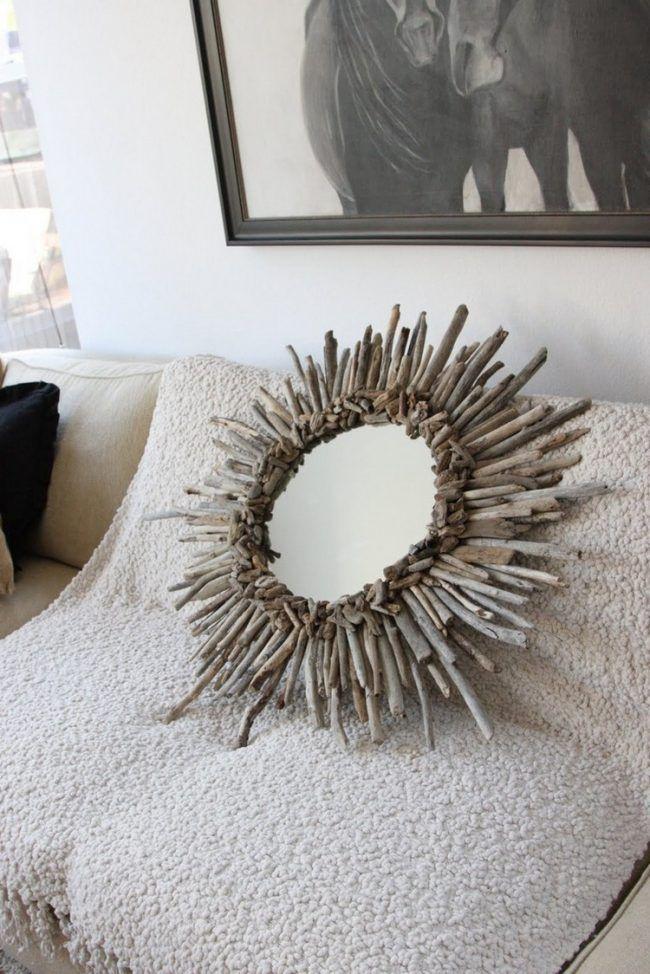 Fancy Treibholz Deko spiegel rund beklebt
