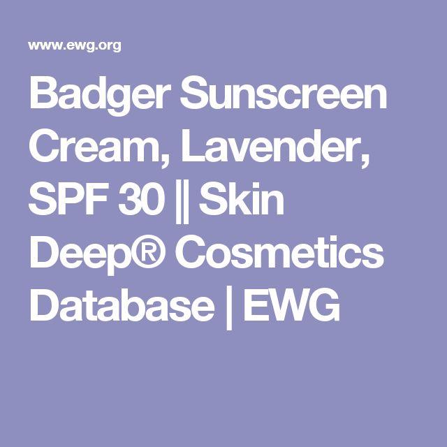 Badger Sunscreen Cream, Lavender, SPF 30 || Skin Deep® Cosmetics Database | EWG