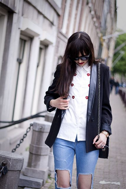 more on www.adashoffash.com  ripped jeans courtesy of stylenanda / lips shirt courtesy of oasap / cateye sunglasses courtesy of zerouv / black blazer topshop / handbag hm paris collection / pumps cheap monday