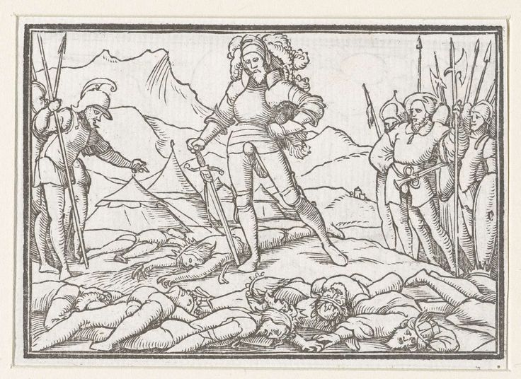 Hans Holbein (II) | Jozua als legeraanvoerder van Israëlieten met lichamen van de verslagen koningen, Hans Holbein (II), Veit Rudolf Specklin, 1538 | Jozua staat als legeraanvoerder van de Israëlieten bij de dode lichamen van de verslagen koningen. Links en rechts staan mannen uit het leger. In de marge boven de afbeelding staat de tekst Josva XII.