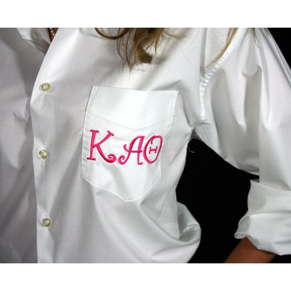 Greek Sorority Button Down Shirt Monogram Personalized ($45) ❤ liked on Polyvore featuring tops, silver, women's clothing, embroidered top, white embroidered top, sport shirts, monogrammed button down shirts and oxford shirt