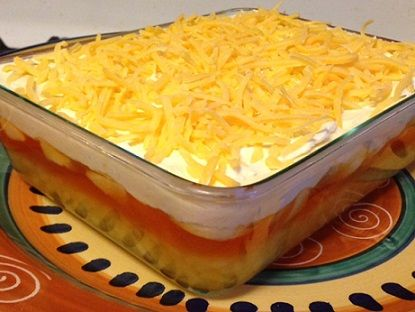 JELLO Sawdust Salad - Layers of Lemon and Orange gelatin with pineapple, bananas, marshmallows and cheddar cheese sprinkles- very refreshing!