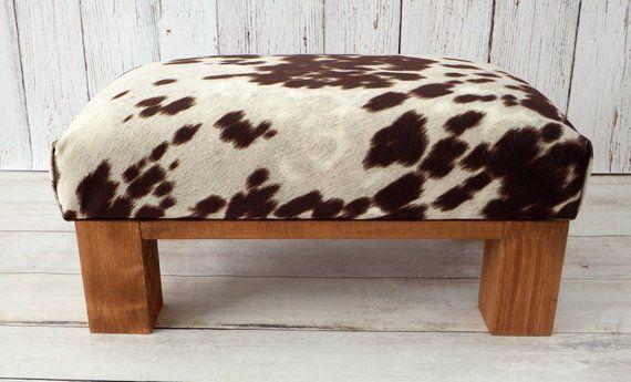 Marvelous Upholstered Ottoman Cow Print Cowhide Ottoman Fur Stool Dailytribune Chair Design For Home Dailytribuneorg