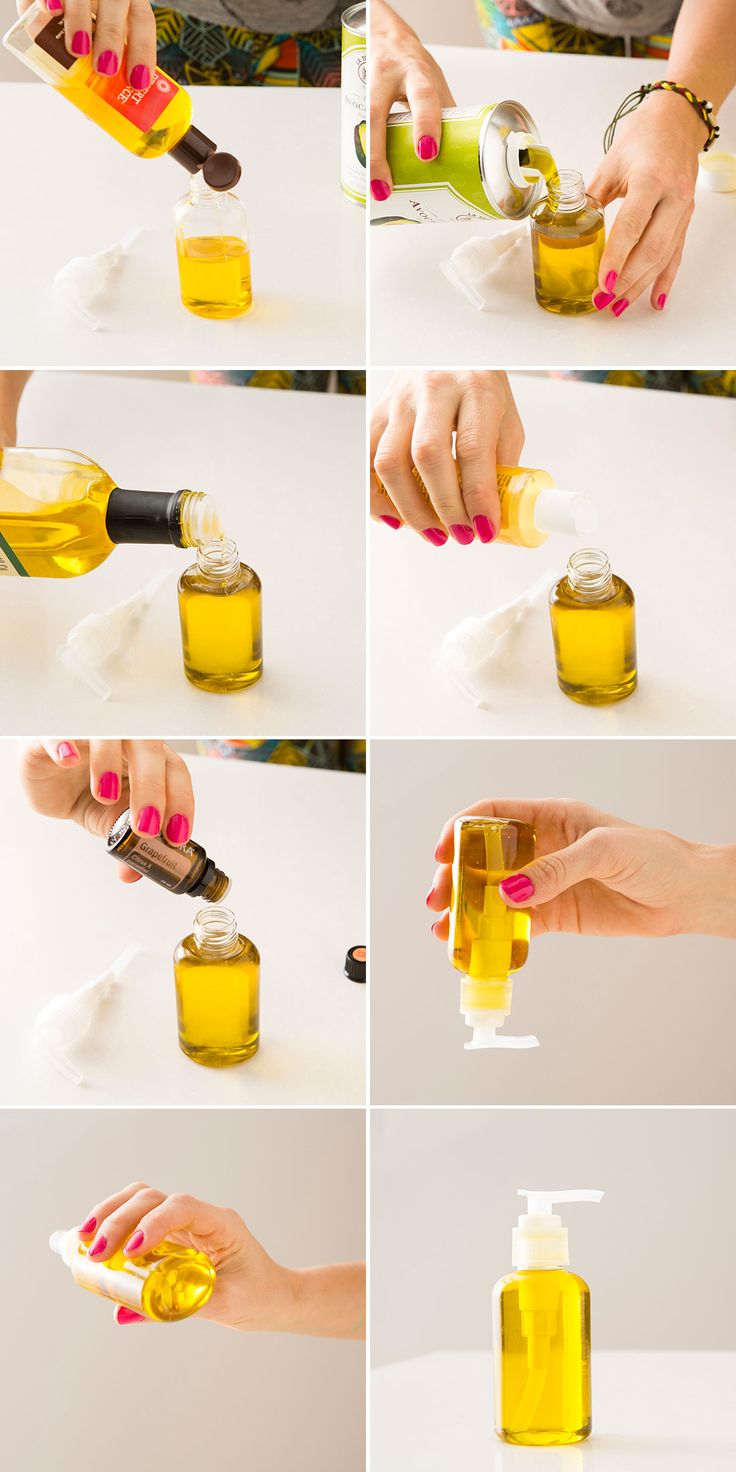 Use olive oil, jojoba oil, avocado oil, and vitamin E oil to DIY your own hair serum.