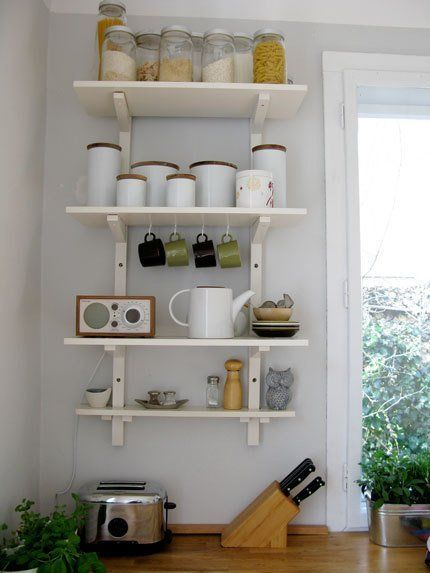Kitchen shelves are a way to get organized, save counter space, and create a stylish look. The storage solutions shown in this roundup are all from IKEA, making them affordable, too: