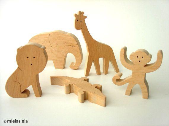 Jungle animals - an Elephant, a Lion, a Monkey, a Giraffe, a Crocodile - Wooden animals - Rainforest animals - Organic Toy