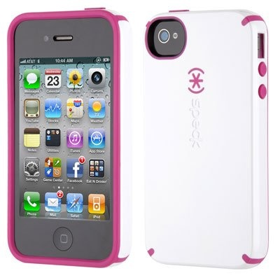 New Speck Candyshell Glossy iPhone 4S 4 RaspberryTruffle White (White Pink)  Retail 2cbec8a3f8