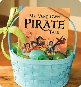 """Ahoy, Matey! If you have a little boy or girl who loves Pirates, look no further! """"My Very Own Pirate Tale"""" personalized book is an adorable addition to any Easter Basket. Your child's name gets personalized throughout the story and he/she becomes captain of the ship! www.iseeme.com"""