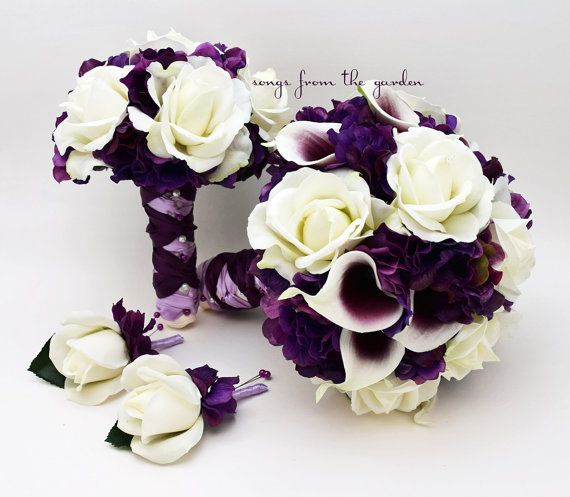 Wedding Package Real Touch Picasso Callas Roses Purple Hydrangea Real Touch Rose Bridal Bouquet Grooms Boutonniere Bridesmaid Bouquet