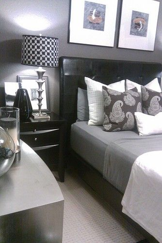 A well decorated, masculine bedroom...