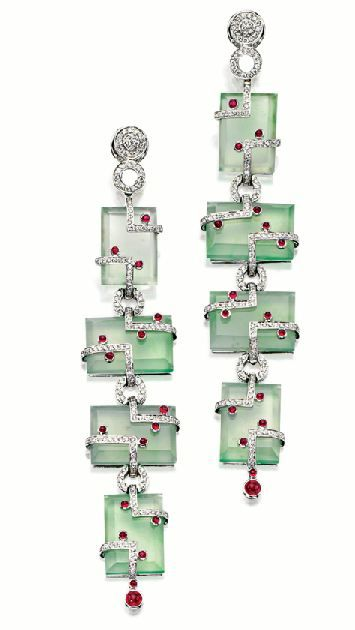 Art Deco Jadeite, Ruby & Diamond Earrings