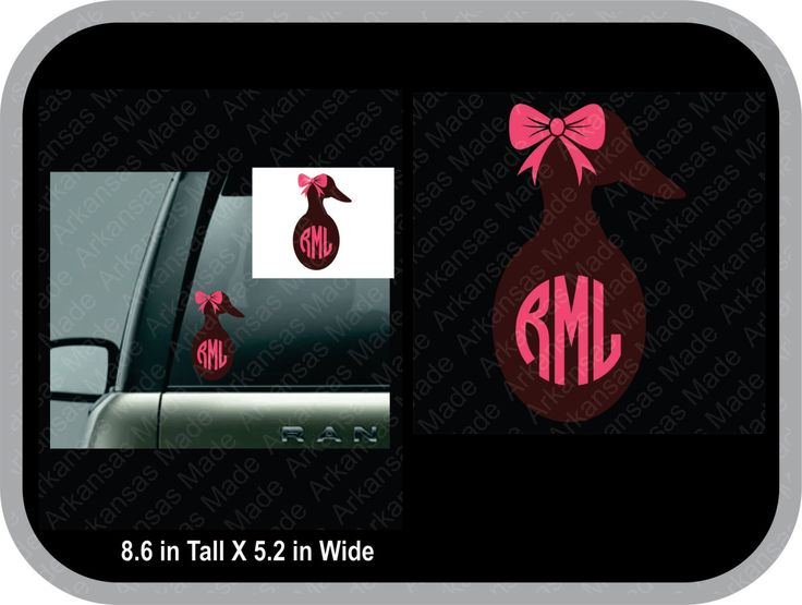 Duck body with bow monogram truck decal, car decal, duck monogram sticker, country sticker, country decal, duck hunting - pinned by pin4etsy.com