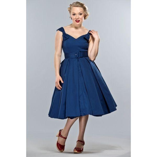 Il profondo scollo a cuore e il brillante blu di questo vestito vi renderanno indimenticabili, valorizzando le vostre forme e donandovi uno stile anni '50.  (nel sito è disponibile anche in altri colori!)
