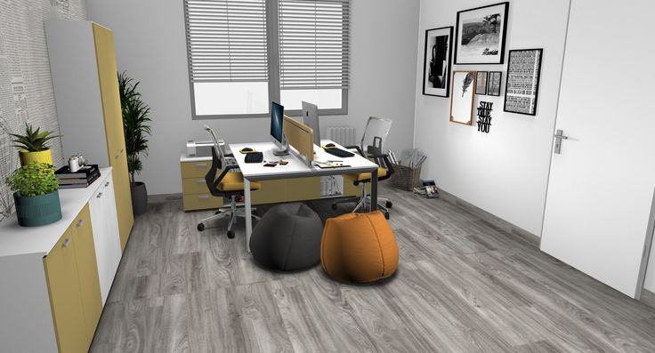 Modern interior design - Operative office, desks with white top and metal legs, chairs with yellow fabric,white and yellow cabinets, grey wood floor, wallpaper - Ufficio operativo, scrivanie con piano bianco e gambe in metallo, sedie operative nere con tessuto giallo, mobili gialli e bianchi, pavimento in legno grigio, carta da parati effetto giornale