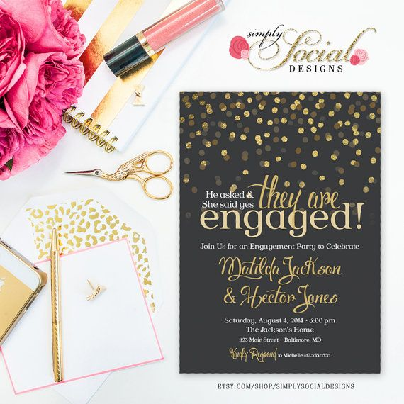 Glitter Glam Confetti Engagement Party by SimplySocialDesigns