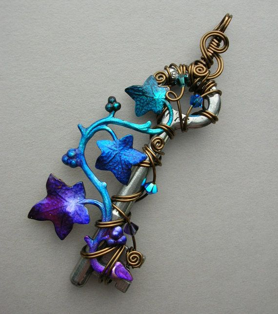 Ivy Vine Key Pendant -- Wire Wrapped Key with Purple, Blue, Turquoise Ivy…