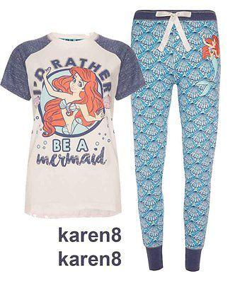 DISNEY LITTLE MERMAID Ladies Pyjamas Primark T Shirt Leggings in Clothes, Shoes & Accessories, Women's Clothing, Lingerie & Nightwear | eBay